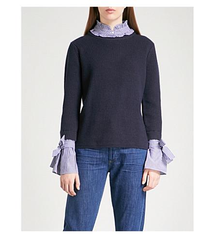 CLAUDIE PIERLOT Striped underlay wool and cotton-blend jumper (Blue