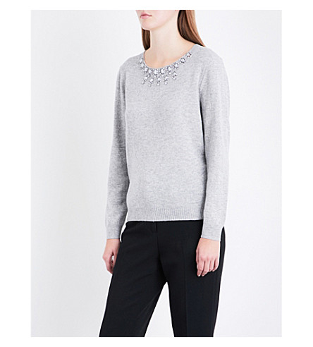 CLAUDIE PIERLOT Megeve wool and cashmere-blend jumper (Gris+chine+clair