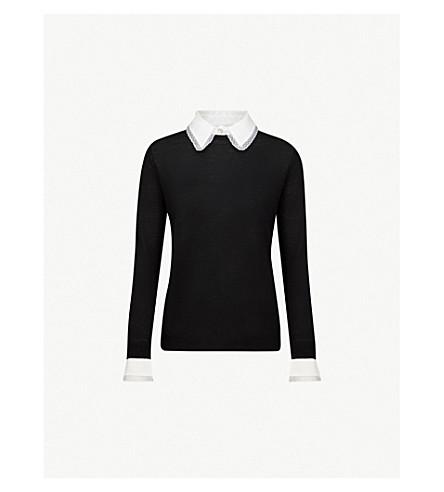 CLAUDIE PIERLOT Mandarine lace-trim wool-knit jumper (Black