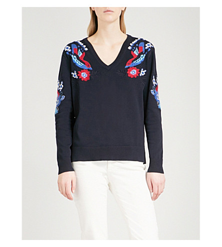 CLAUDIE PIERLOT Floral-embroidered knitted jumper (Blue