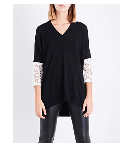 CLAUDIE PIERLOT Lace-trim knitted top (Noir