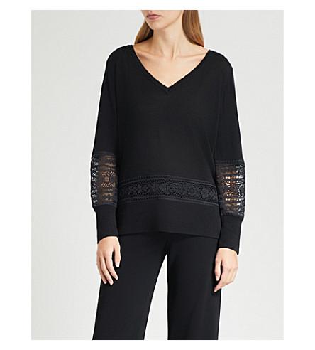 CLAUDIE PIERLOT Lace-insert wool-blend jumper (Noir