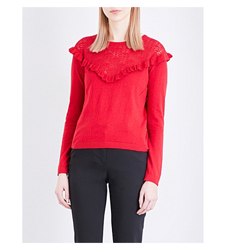 CLAUDIE PIERLOT Melodie cotton, silk and cashmere-blend jumper (Ruby