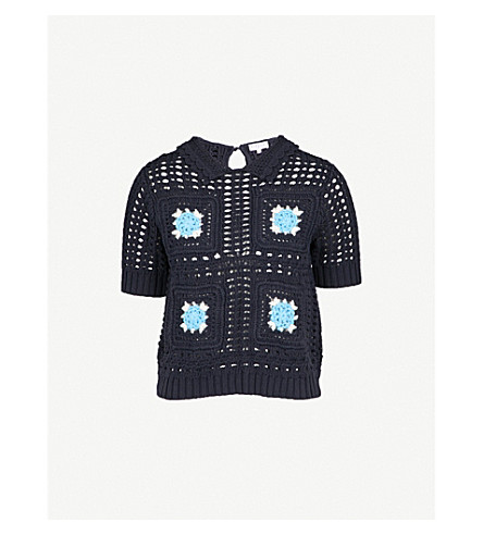 CLAUDIE PIERLOT Messidor crochet-knit cotton top (Blue