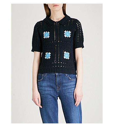 CLAUDIE PIERLOT Messidor crochet-knit cotton top (Blue