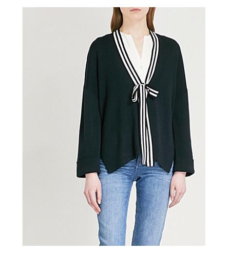 CLAUDIE PIERLOT Neck-tie wool-blend cardigan (Blue