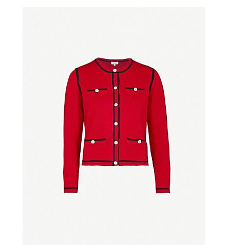CLAUDIE PIERLOT Contrast-trim wool-blend cardigan (Red