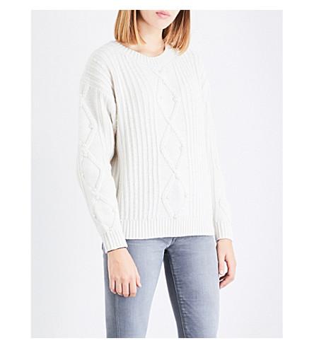 CLAUDIE PIERLOT Faux-pearl embellished wool-blend jumper (Ecru