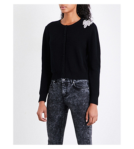 CLAUDIE PIERLOT Embellished-detail wool-knitted cardigan (Noir