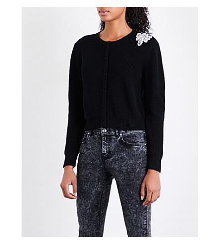 CLAUDIE PIERLOT 修饰细节羊毛针织开襟衫 (黑色