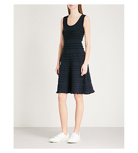 CLAUDIE PIERLOT Frilled-trim knitted dress (Blue