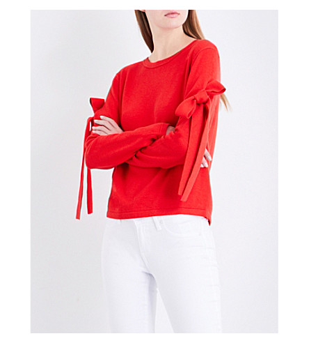 CLAUDIE PIERLOT Self-tie sleeve cotton-blend jumper (Ecarlate