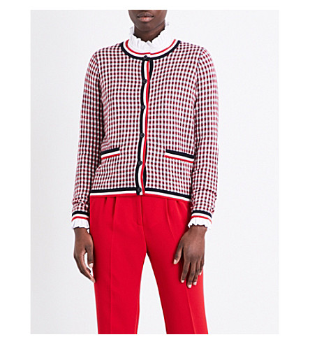 CLAUDIE PIERLOT Maxime checked cotton-blend cardigan (Rouge