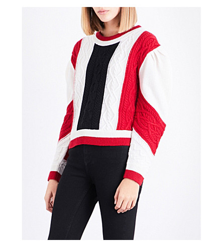 CLAUDIE PIERLOT Mixity knitted wool jumper (Ecarlate