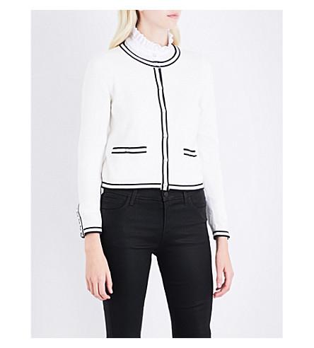 CLAUDIE PIERLOT 对比-装饰棉, 羊毛和羊绒混纺开衫 (本色