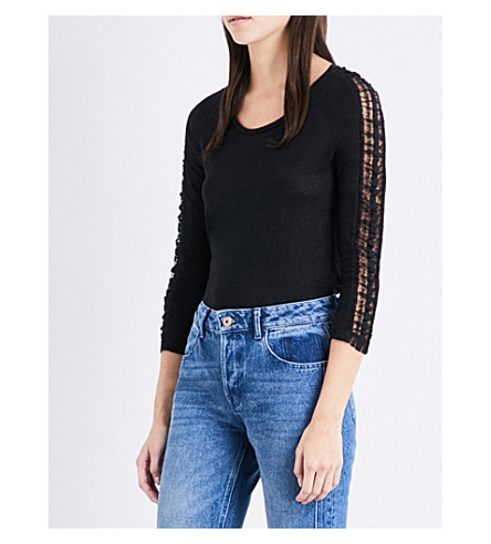 CLAUDIE PIERLOT Trade lace-trim linen top (Noir