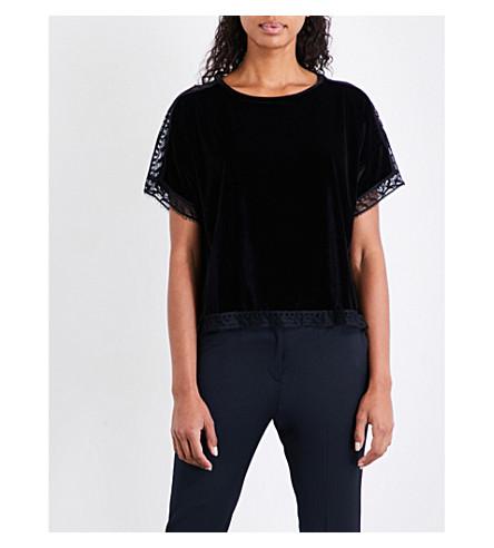 CLAUDIE PIERLOT Lace-trimmed velvet top (Noir
