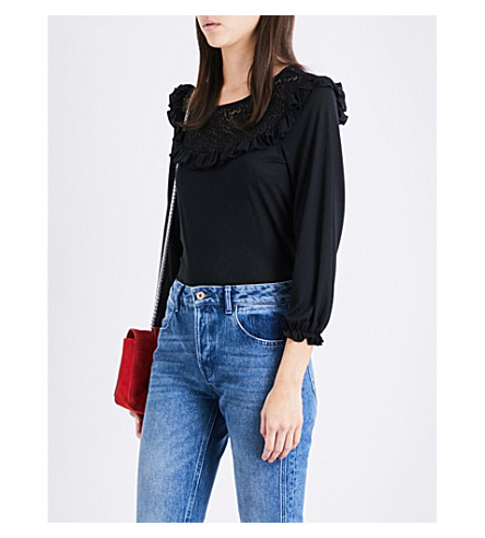 CLAUDIE PIERLOT Tipi lace-detail jersey top (Noir