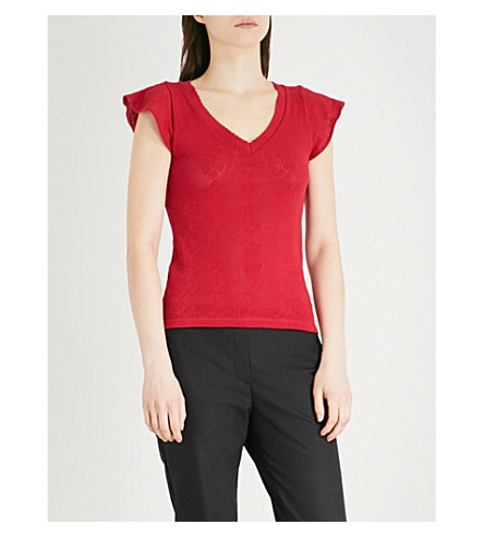 CLAUDIE PIERLOT Dotted knitted cotton-jersey T-shirt (Red