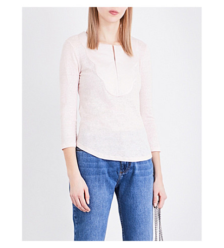 CLAUDIE PIERLOT Tahina linen and jersey top (Rose+pale