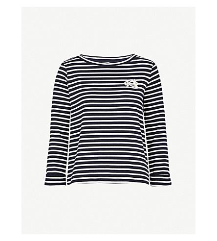 CLAUDIE PIERLOT Brooch-detail striped cotton-blend top (Blue