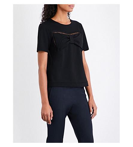 CLAUDIE PIERLOT Bow-detail jersey T-shirt (Noir