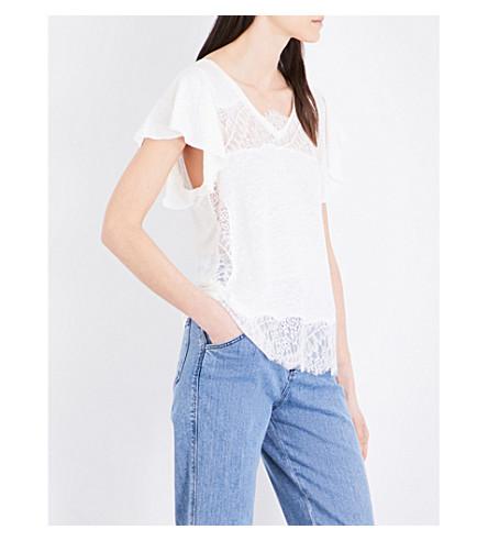 CLAUDIE PIERLOT Terrasse knitted linen T-shirt (Ecru