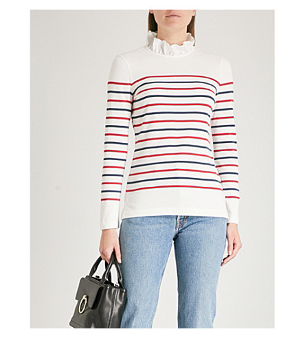 CLAUDIE PIERLOT Striped cotton-blend jumper (Cream