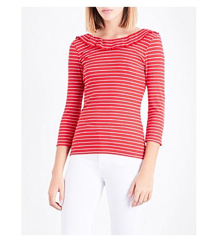 CLAUDIE PIERLOT Striped stretch-cotton top (Ecarlate