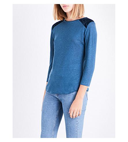 CLAUDIE PIERLOT Velvet-trim linen top (Canard