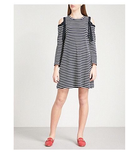 CLAUDIE PIERLOT Cold-shoulder striped stretch-cotton dress (Blue
