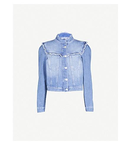 CLAUDIE PIERLOT Broderie-trim denim jacket (Blue