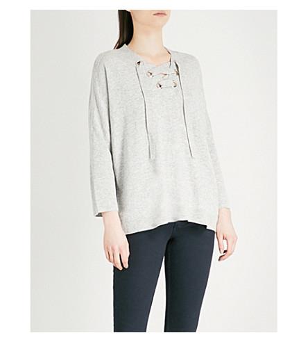 CLAUDIE PIERLOT Laced wool-blend jumper (Grey