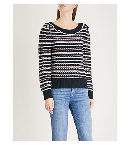CLAUDIE PIERLOT Frill-detail striped wool-blend jumper (Blue
