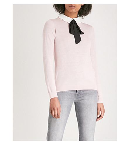 CLAUDIE PIERLOT Pussy bow collar wool jumper (White