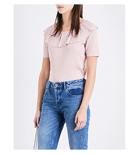 CLAUDIE PIERLOT Miami frill-detail metallic-knit top (Blush
