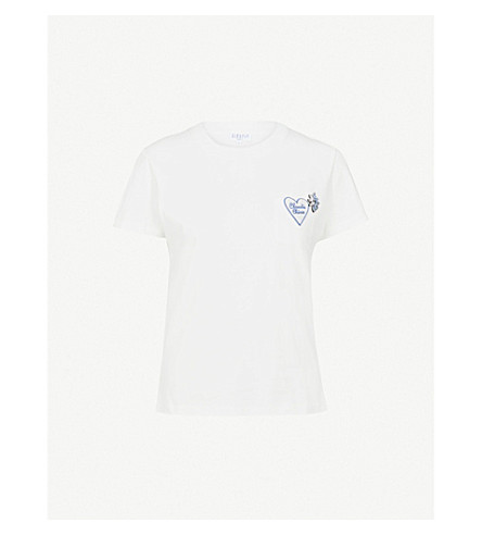CLAUDIE PIERLOT Embellished cotton-jersey T-shirt (Cream