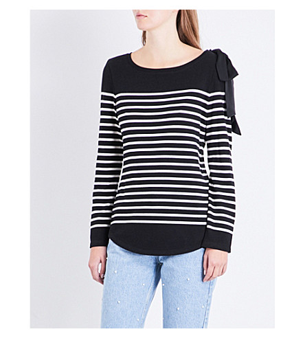CLAUDIE PIERLOT Breton striped cotton-blend top (Noir
