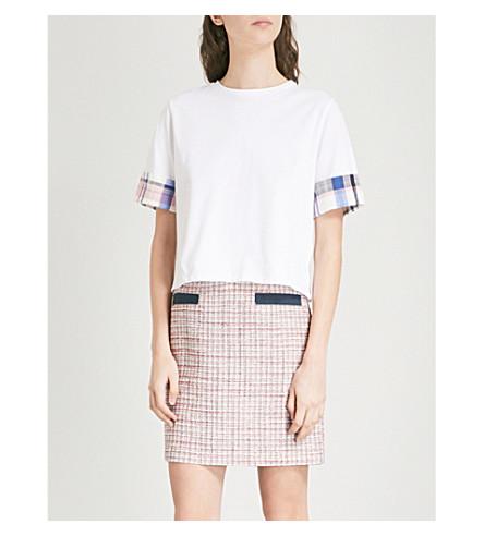 CLAUDIE PIERLOT Checked-trim cotton-jersey T-shirt (Cream