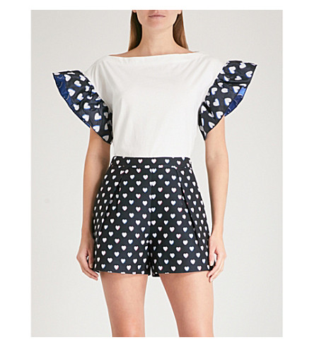 CLAUDIE PIERLOT Ruffled-sleeve cotton-jersey T-shirt (Cream