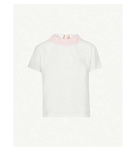 CLAUDIE PIERLOT Lace-trim cotton-jersey T-shirt (Cream