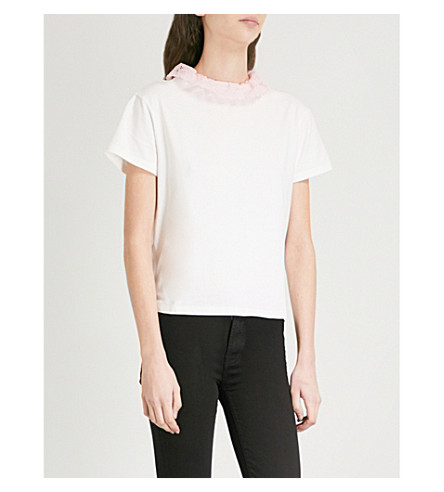 CLAUDIE PIERLOT Lace-trim cotton-jersey T-shirt (Cream