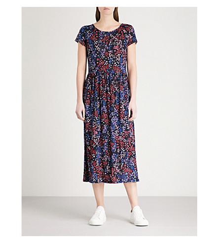 CLAUDIE PIERLOT Floral-print linen-blend midi dress (Blue