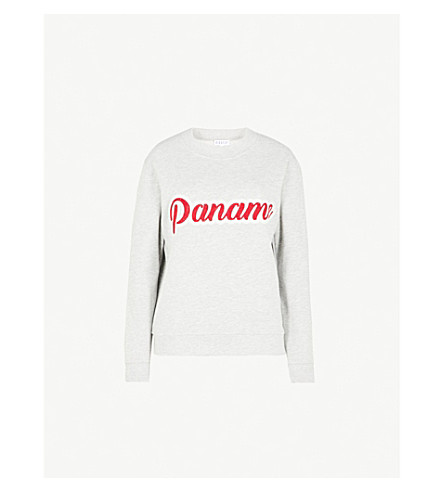 CLAUDIE PIERLOT Text-embroidered cotton-blend sweatshirt (Grey