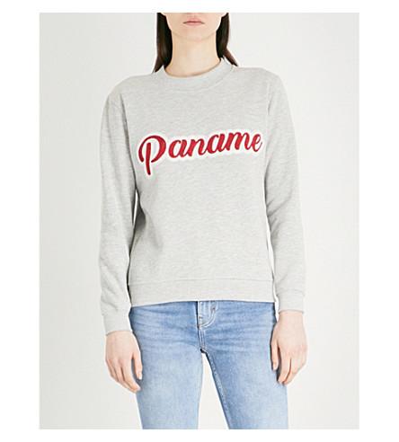 CLAUDIE PIERLOT Text-embroidered cotton-blend sweatshirt (Grey