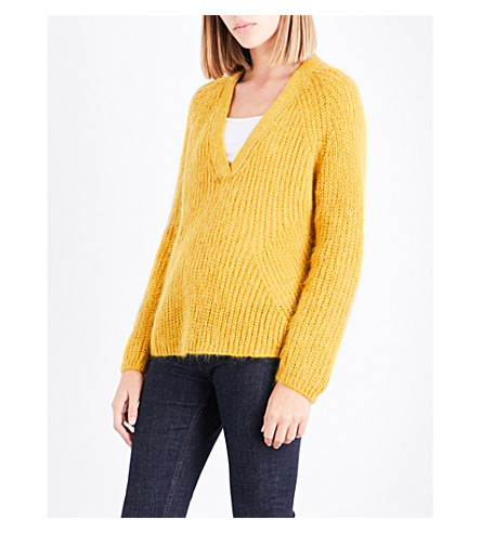 CLAUDIE PIERLOT V-neck knitted jumper (Safran