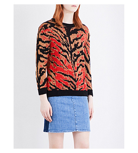 CLAUDIE PIERLOT Tiger-pattern jumper (Noir