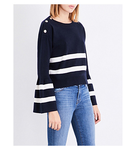 CLAUDIE PIERLOT Striped cotton and wool-blend jumper (Petrol