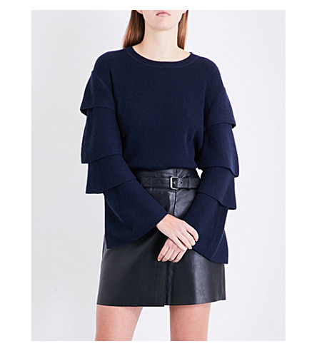 CLAUDIE PIERLOT Layered-sleeve wool and cashmere-blend jumper (Petrol