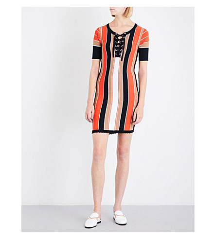 CLAUDIE PIERLOT Madrid striped knitted dress (Orange
